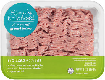 Simply Balanced™ All Natural* Ground Turkey 93% Lean 7% Fat 16 oz. Tray