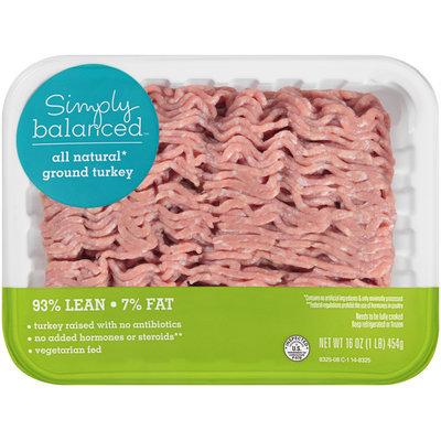 Simply Balanced™ All Natural* Ground Turkey 93% Lean 7% Fat 16 oz. Tray
