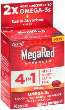 Schiff® MegaRed® Advanced 4 in 1 Omega-3s Fish Oil + High Absorption Krill Oil Extra Strength 500mg Softgels