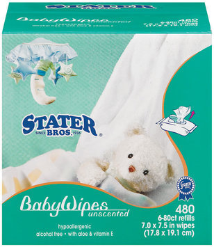 Stater Bros. Unscented Baby Wipes 480 Ct Bag