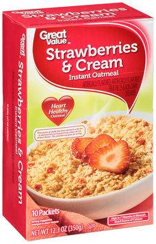 Great Value™ Strawberries & Cream Instant Oatmeal 10 ct Box