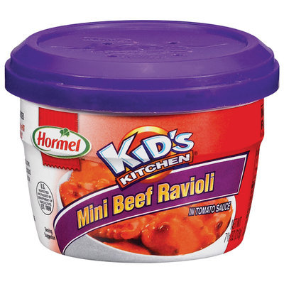 HORMEL KID'S KITCHEN In Tomato Sauce Microwave Cup Mini Beef Ravioli 7.5 OZ CUP