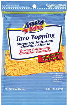 Special Value Shredded Imitation Cheddar Taco Topping 8 Oz Peg