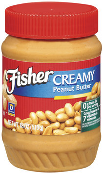Fisher Peanut Butter Creamy Peanut Butter 18 Oz Plastic Jar