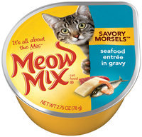 Meow Mix Savory Morsels Seafood Entree in Gravy Wet Cat Food, 2.75-Ounce Cup