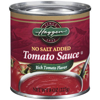 Haggen No Salt Added Tomato Sauce 8 Oz Can