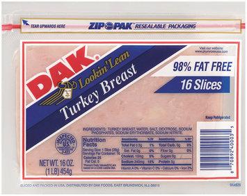 Dak 98% Fat Free Sliced Turkey Breast 16 Oz Zip Pak