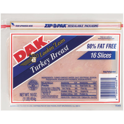 Dak 98% Fat Free Sliced Turkey Breast 16 Oz Zip Pak