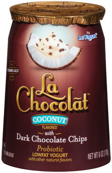 La Yogurt® La Chocolat™ Coconut Flavored with Dark Chocolate Chips Probiotic Lowfat Yogurt 6 oz. Cup