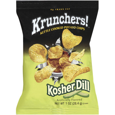 Krunchers! Kettle Cooked Kosher Dill Potato Chips 1 Oz Bag