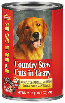 Springfield Prize W/Country Stew Cuts In Gravy Dog Food 22 Oz Can