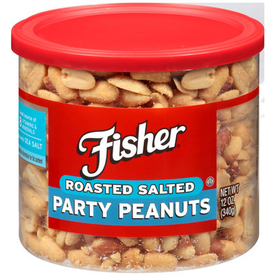 Fisher® Roasted Salted Party Peanuts 12 oz. Canister