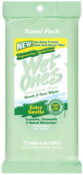 Wet Ones Sensitive Skin Extra Gentle Wipes Hand & Face  15 Ct Peg