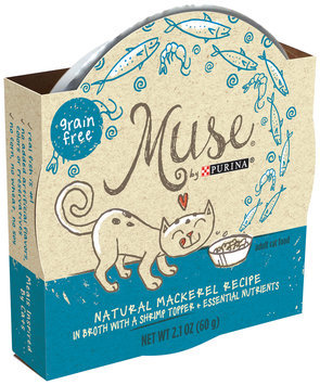 Muse by Purina Natural Mackerel Recipe in Broth with a Shrimp Topper Cat Food 2.1 oz. Tub