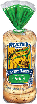 Stater Bros. Onion Country Harvest 6 Ct Bagels 18 Oz Bag