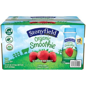Stonyfield® Strawberry Organic Lowfat Yogurt Smoothies 12-6 fl. oz. Bottles