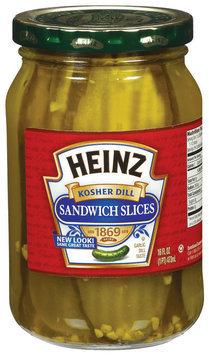 Heinz Kosher Dill Sandwich Slices Pickles 16 Oz Jar