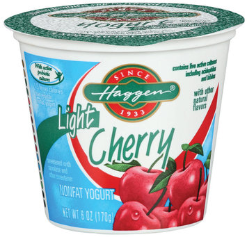 Haggen Light Cherry W/Other Natural Flavors Nonfat Yogurt 6 Oz Cup