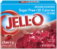 Jell-O Sugar Free Cherry Low Calorie Gelatin Dessert .6 Oz Box