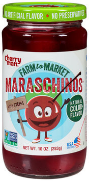 CherryMan® Farm to Market™ Maraschinos Cherries With Stems 10 oz. Jar