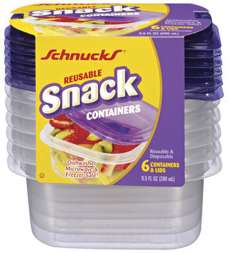 Schnucks Reusable Snack 9.5 Oz Containers 6 Ct