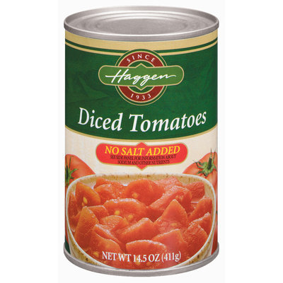 Haggen Diced No Salt Added Tomatoes 14.5 Oz Can