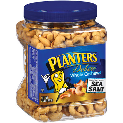 Planters Deluxe Whole W/Sea Salt Cashews 32 Oz Canister