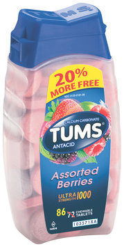 Tums® Ultra Strength 1000 Assorted Berries Antacid/Calcium Supplement Tablets 86 ct Bottle