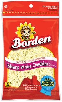 Borden Finely Shredded Sharp White Cheddar Cheese 8 Oz Peg