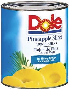Dole Canned Fruit In Heavy Syrup 100-110 Ct #10 Pineapple Slices 108 Oz Can