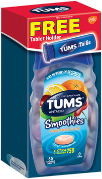 Tums® Smoothies™ Extra Strength 750 Antacid Calcium Carbonate Assorted Fruit Chewable Tablets 60 ct Box