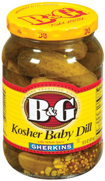 B&G Gherkins Kosher Baby Dill W/Whole Spices Pickles 16 Fl Oz Jar