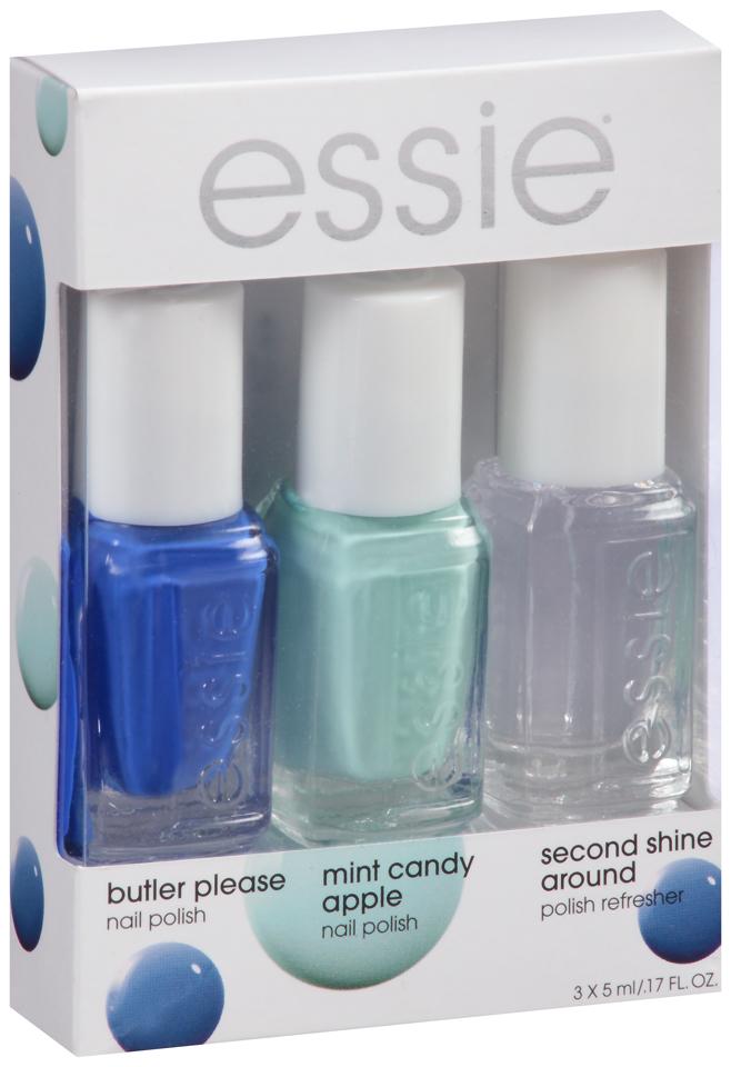 Essie® Mini Blue Trio Kit Mint Candy Apple, Butler Please, Second Shine Around 3-5mL Bottles