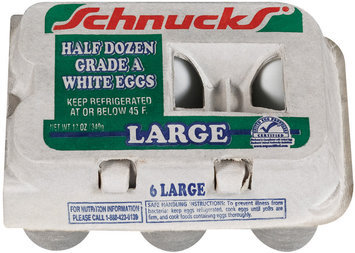 Schnucks Large Grade A White Half Dozen Eggs 12 Oz Carton