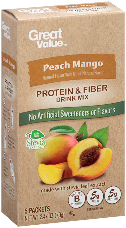 Great Value™ Peach Mango Protein & Fiber Drink Mix 5 ct. Packets