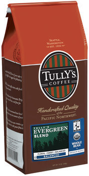 Tully's Coffee Balanced Whole Bean Medium Roast Evergreen Blend 12 Oz Stand Up Bag