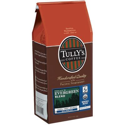 Tully's Coffee Balanced Whole Bean Medium Roast Evergreen Blend 12 Oz Stand Up Bag