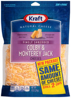 Kraft Finely Shredded Colby & Monterey Jack Cheese 8 oz. ZIP-PAK®
