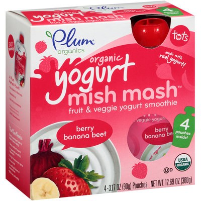 Plum Organics® Tots Mish Mash™ Yogurt Berry Banana Beet Fruit & Veggie Smoothie 4-3.17 oz. Pouches