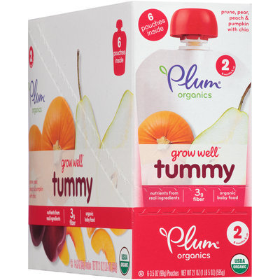 Plum Organics® Grow Well™ Tummy Organic Baby Food 6-3.5 oz. Pouches