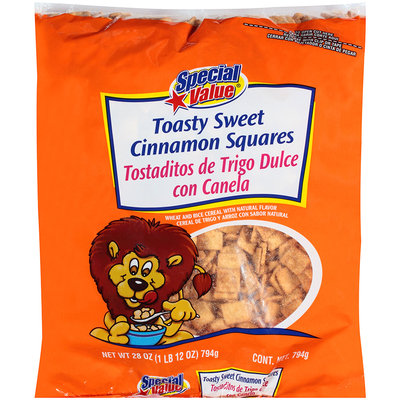 Special Value® Toasty Sweet Cinnamon Squares Wheat and Rice Cereal 28 oz. Bag