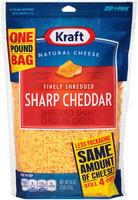 Kraft Finely Shredded Sharp Cheddar Cheese 16 oz. ZIP-PAK®