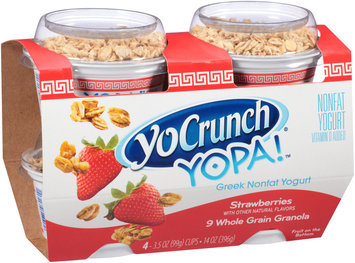 YoCrunch® YOPA!™ Strawberries with 9 Whole Grain Granola Greek Nonfat Yogurt 4-3.5 oz. Cups