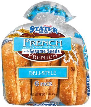Stater Bros. French Deli Style W/Sesame Seeds Sliced Sandwich Rolls 16 Oz Bag