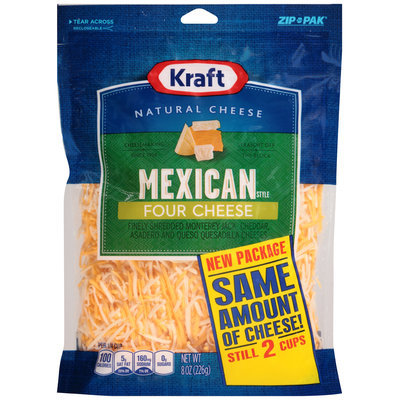 Kraft Finely Shredded Mexican Style Four Cheese Blend 8 oz. ZIP-PAK®