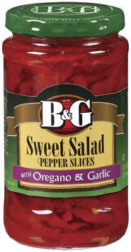 B&G Sweet Salad Slices W/Oregano & Garlic Peppers 12 Oz Jar