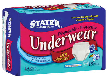 Stater Bros. Large Extra Absorbent Disposable Underwear 18 Ct Bag