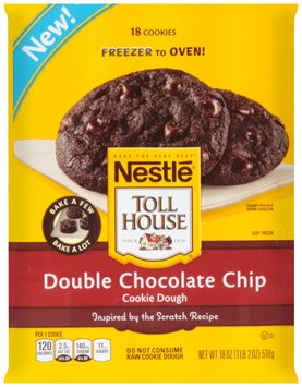 Nestlé TOLL HOUSE Frozen  Double Chocolate Chip Cookie Dough 18 oz.