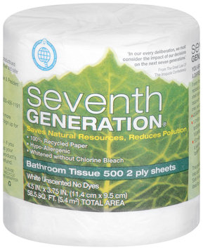 Seventh Generation White Unscented 500 2 Ply Sheets Bathroom Tissue 1 Ct Wrapper