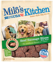 Milo's Kitchen Beef Sausage Slices with Rice Dog Treats 10 oz. Pouch